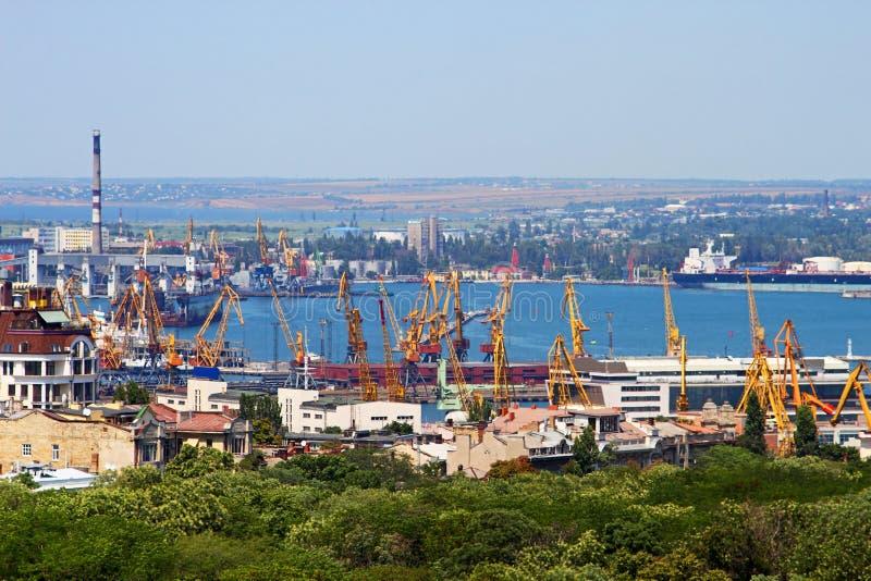 Cargo crane and grain dryer in port. Odessa, Ukraine royalty free stock image