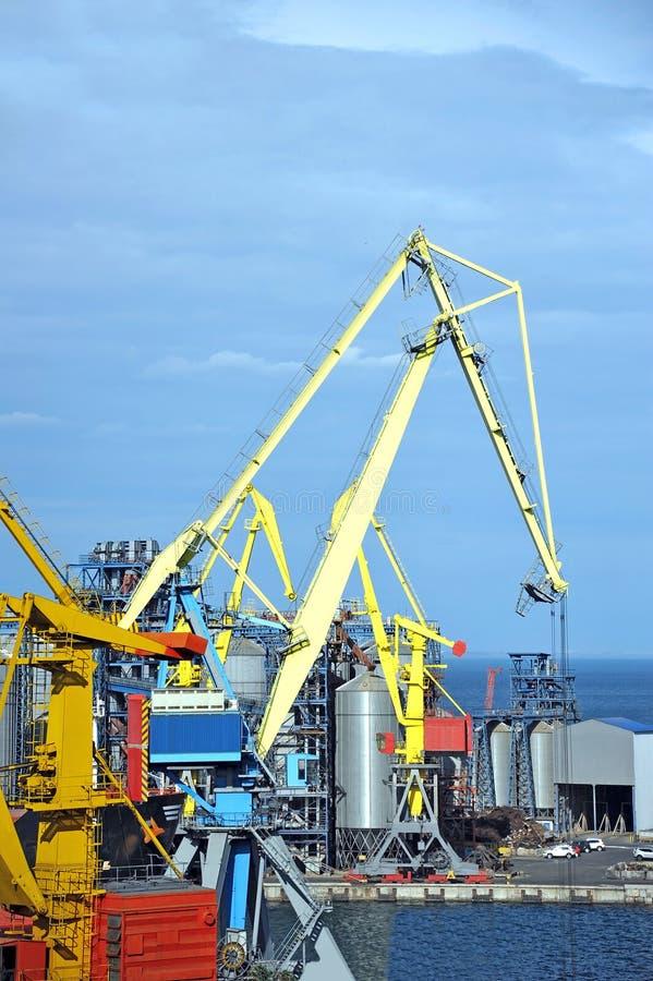 Cargo crane and grain dryer. In port Odessa, Ukraine stock image