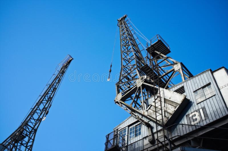 Cargo cranes at Bristol Docks royalty free stock images