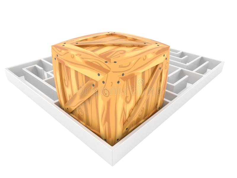 Cargo crate with maze stock illustration