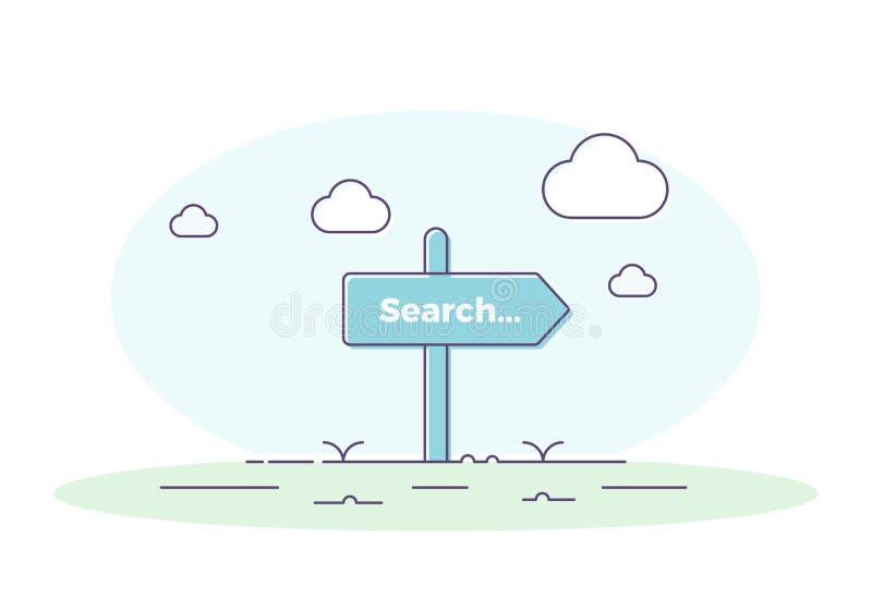 Cargo da estrada com a busca da palavra Ilustração do vetor para conceitos relacionados da busca ilustração stock