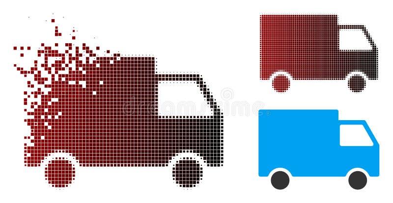Cargo de semitono de desintegración Van Icon del pixel ilustración del vector