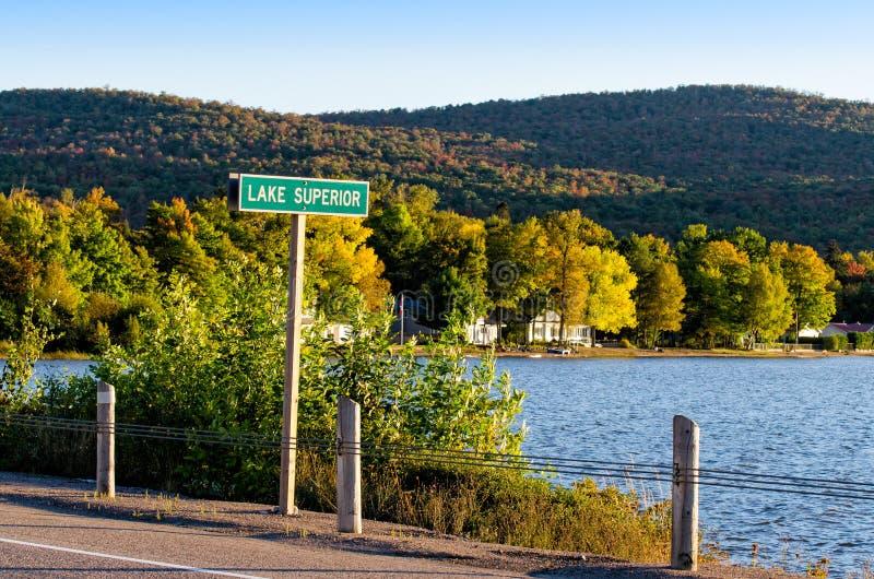 Cargo de sinal do Lago Superior fotografia de stock royalty free