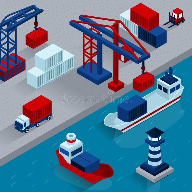 Cargo del puerto que carga concepto isométrico libre illustration