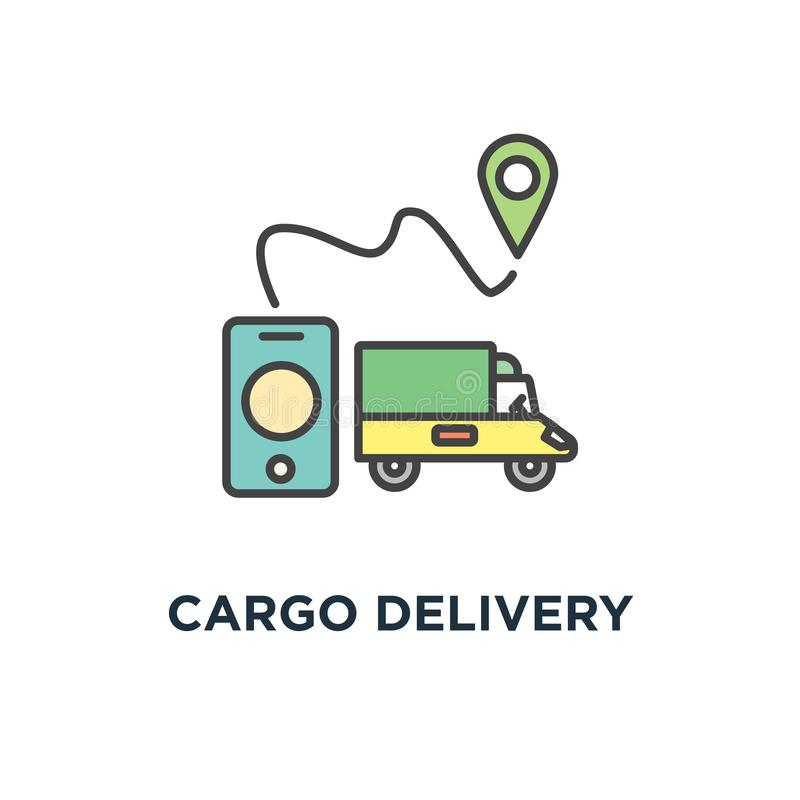 Cargo delivery icon, outline of gps navigation, purchase delivery,, transportation,, logistic system or mobile app for goods. Shipping stock illustration