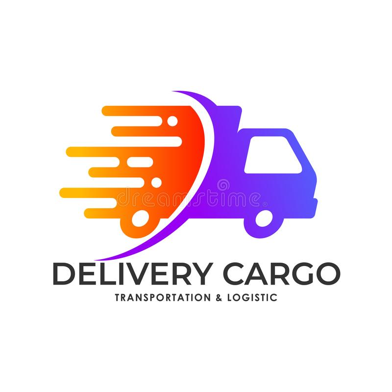 Cargo delivery services logo stock illustration
