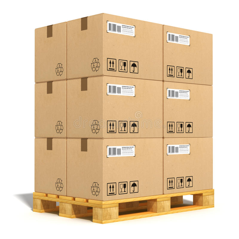 Cardboard boxes on shipping pallet. Cargo, delivery and transportation industry concept: stacked cardboard boxes on wooden shipping pallet isolated on white vector illustration
