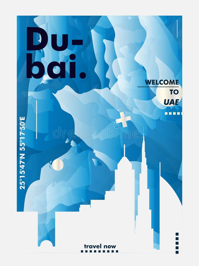 Cargo do vetor do inclinação da cidade da skyline dos UAE Emiratos Árabes Unidos Dubai ilustração do vetor