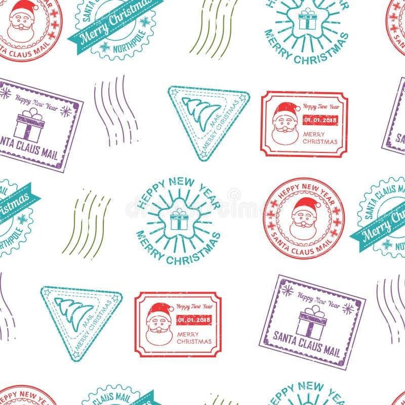 Cargo e marcas de Santa Claus dos correios do vetor das crianças ilustração stock
