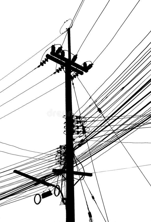 Cargo e muitos da eletricidade cabo em preto e branco foto de stock