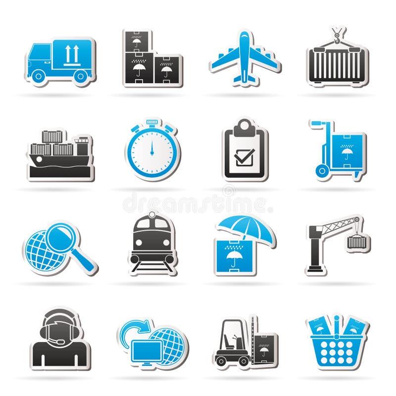 Cargo, envío e iconos logísticos ilustración del vector