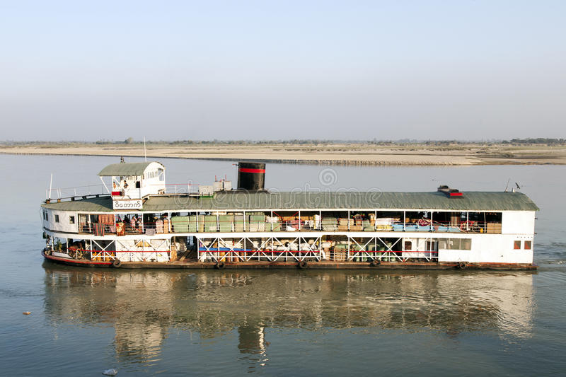 Cargo Ferry Boat On Irrawaddy River Editorial Stock Photo