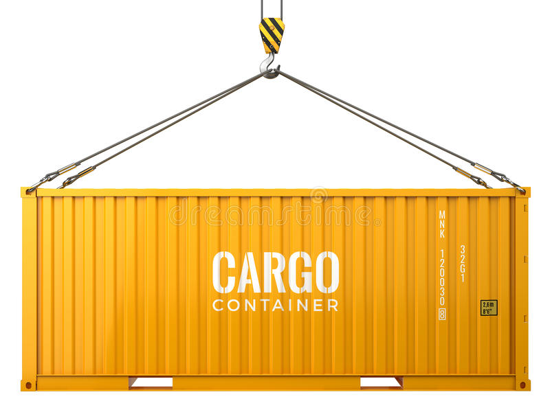Cargo freight shipping container isolated on white background stock illustration