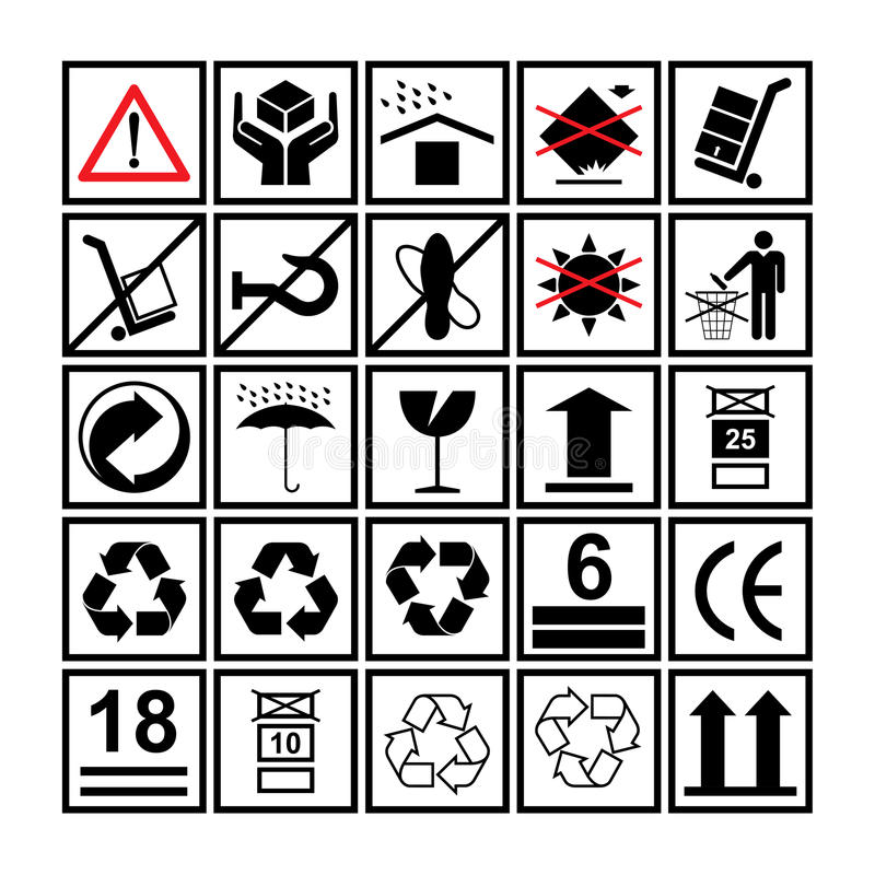 Cargo handling icons used beside the boxes and packaging. Cargo handling icon set used beside the boxes and packaging stock illustration