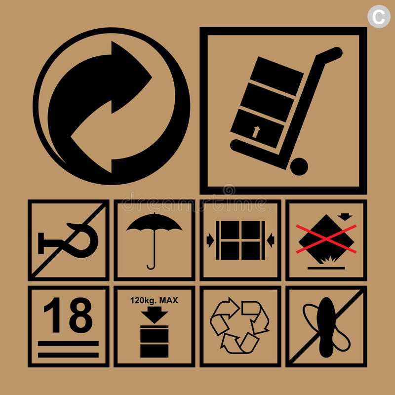 Cargo handling icons used beside the boxes and packaging. Cargo handling icon set used beside the boxes and packaging vector illustration