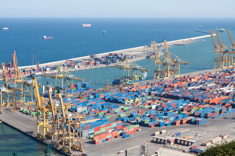 Shipping containers. A cargo harbor full with shipping containers stock images