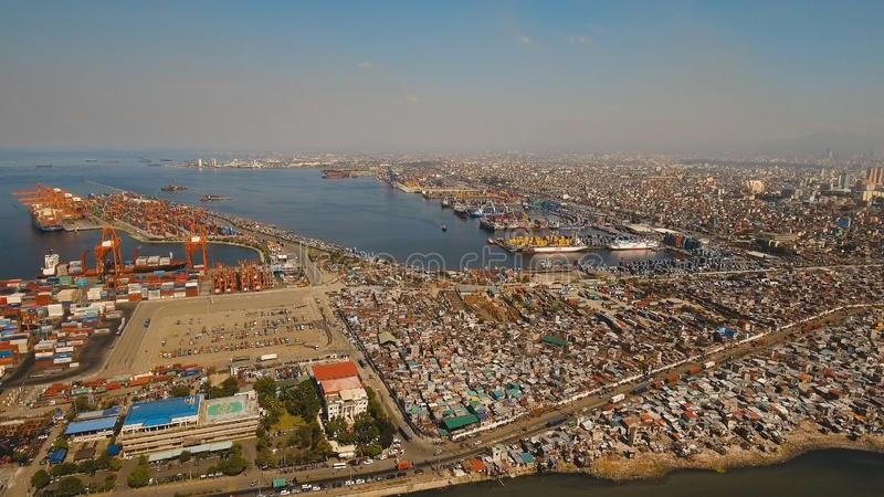 Cargo industrial port aerial view. Manila, Philippines. royalty free stock images