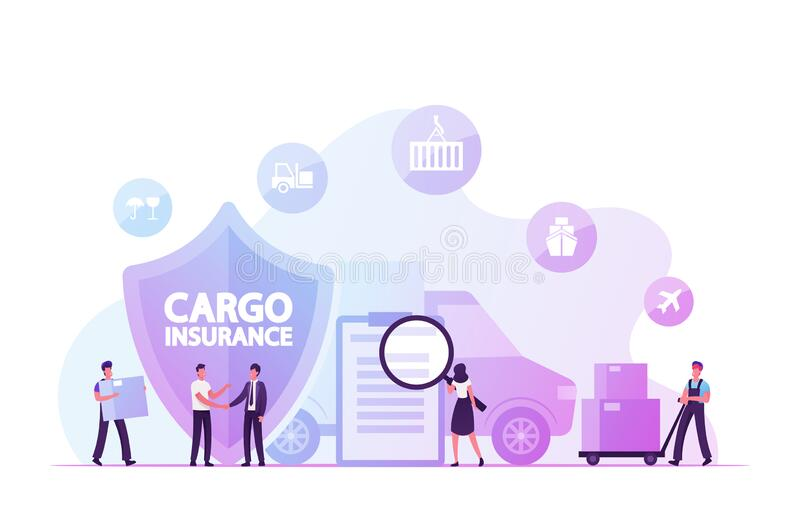 Cargo Insurance, Guaranty of Delivery Concept. Tiny Characters Making Deal with Shipping Company. Reading Policy Document, Loading Freight in Truck. Logistics vector illustration