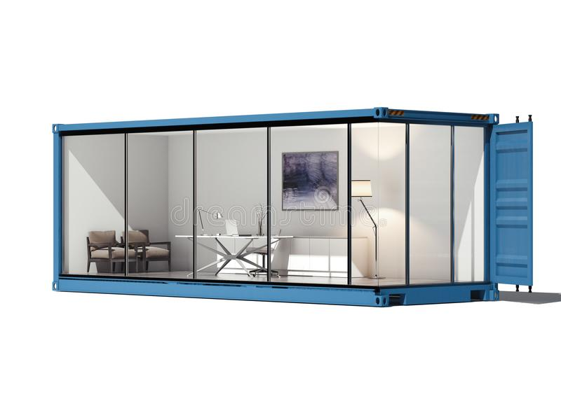 Cargo koneiner converted into an office. 3d rendering royalty free stock image