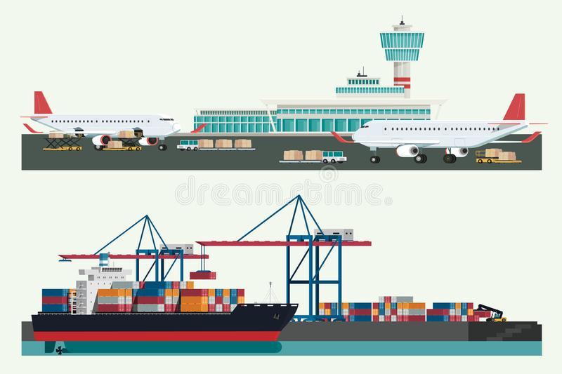 Cargo logistics transportation, container ship and cargo plane w. Ith working crane import export transport industry and forklift truck. illustration vector royalty free illustration