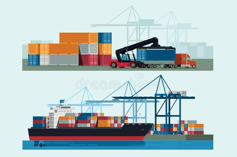 Cargo logistics truck and transportation container ship with working crane import export transport industry and forklift truck in vector illustration