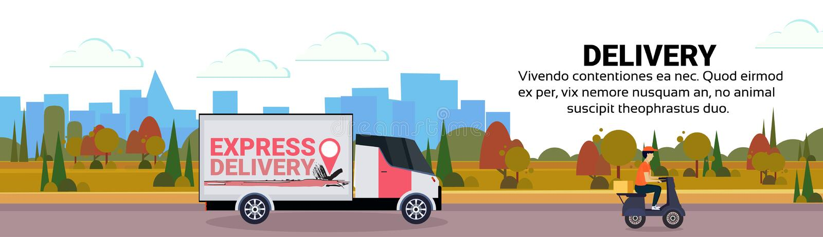 Cargo minivan motorcycle delivery transport shipping industrial highway concept cityscape landscape background flat. Horizontal banner copy space vector royalty free illustration