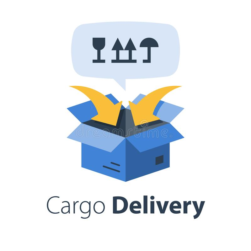 Cargo packing and distribution, relocation services, freight transportation, cargo shipment. Delivery company, vector flat illustration stock illustration