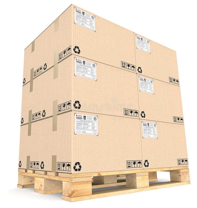 Cargo pallet and Boxes. royalty free illustration