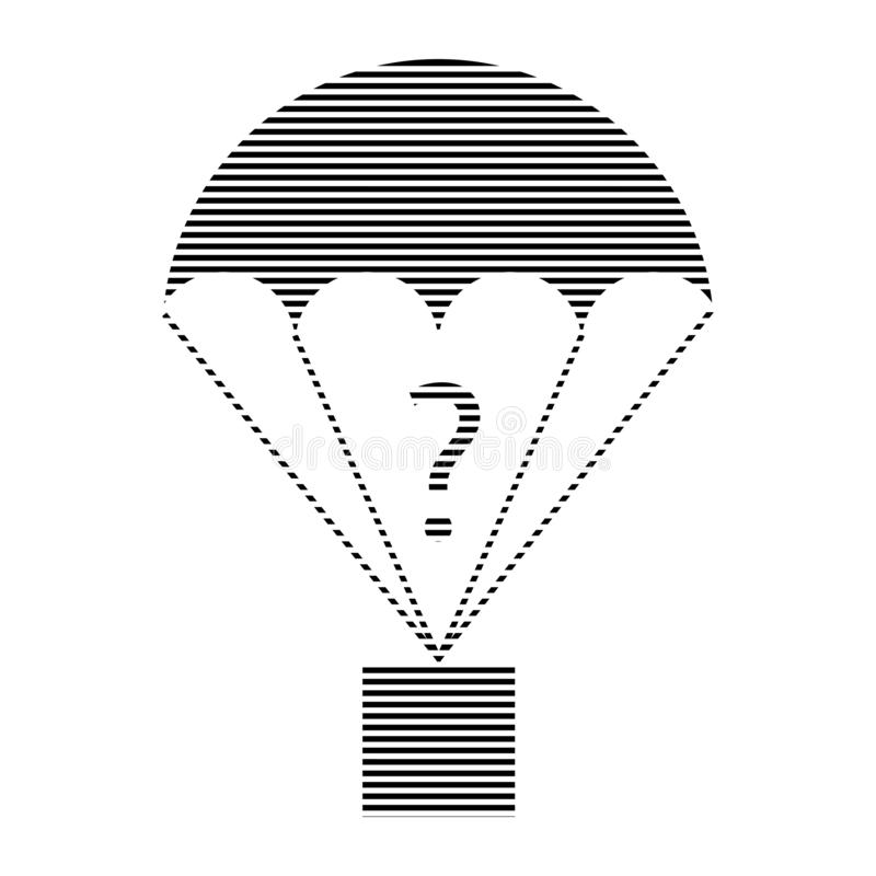 Cargo parachute hatched question mark icon. Thin line stock illustration