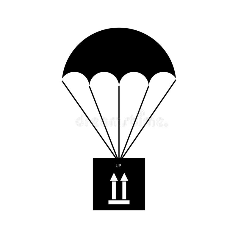 Cargo parachute with a sign indicating the correct vertical position of the cargo - thin line. Cargo parachute with a sign indicating the correct vertical royalty free illustration