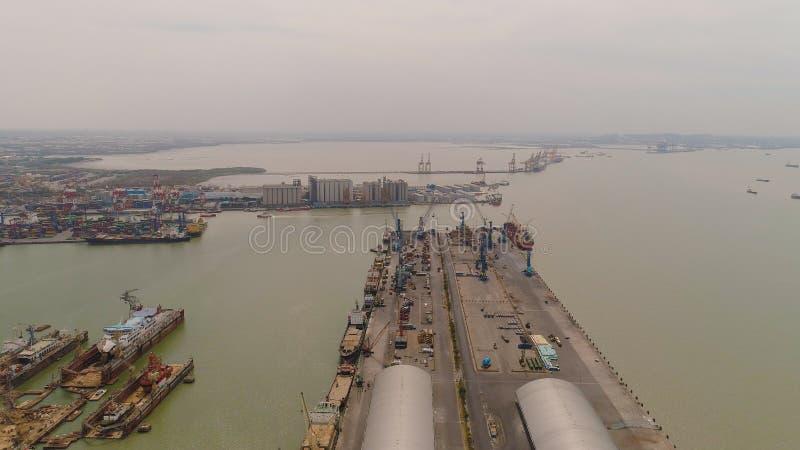 Cargo and passenger seaport in surabaya, java, indonesia royalty free stock photography