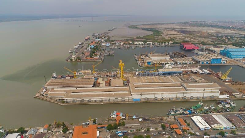 Cargo and passenger seaport in surabaya, java, indonesia stock image