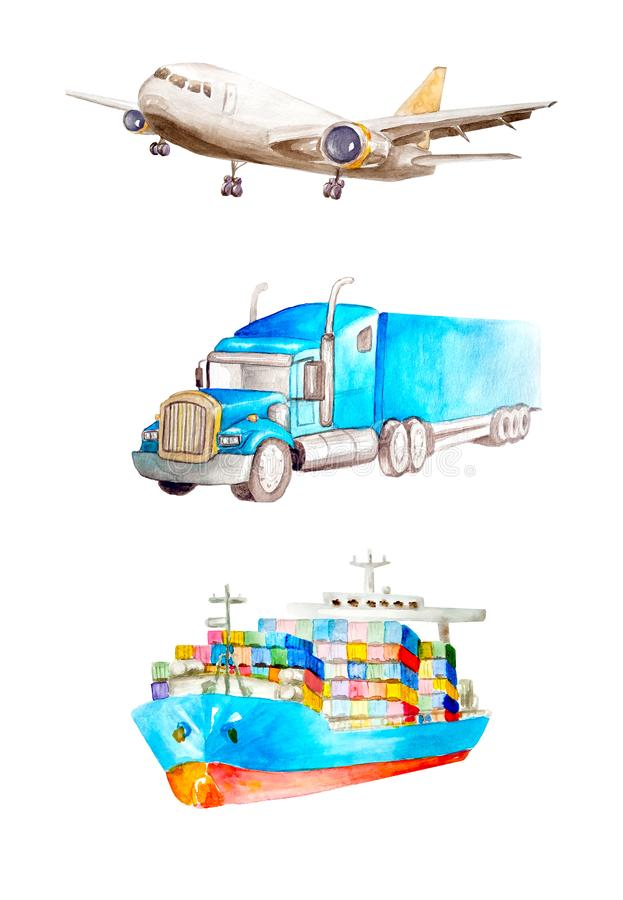 Cargo plane, American heavy truck tractor, container truck. Watercolor set of cargo transport on a white background isolated.  For. Ð¡argo plane, American stock illustration