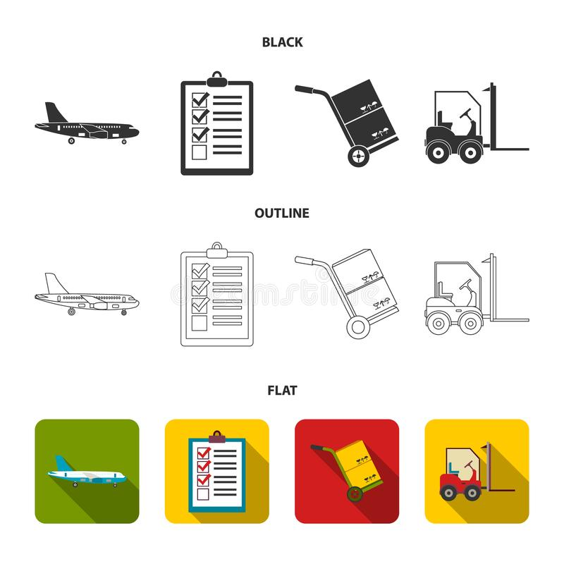 Cargo plane, cart for transportation, boxes, forklift, documents.Logistic,set collection icons in black,flat,outline. Style vector symbol stock illustration royalty free illustration