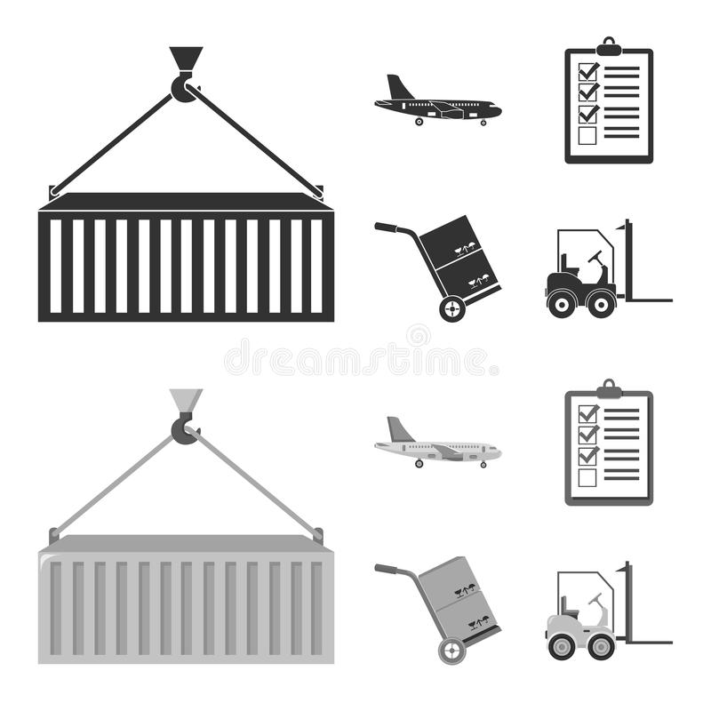 Cargo plane, cart for transportation, boxes, forklift, documents.Logistic,set collection icons in black,monochrom style. Vector symbol stock illustration vector illustration