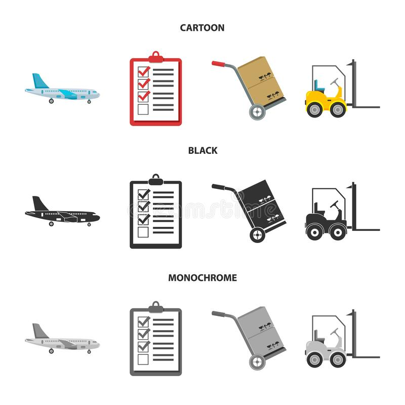 Cargo plane, cart for transportation, boxes, forklift, documents.Logistic,set collection icons in cartoon,black. Monochrome style vector symbol stock royalty free illustration