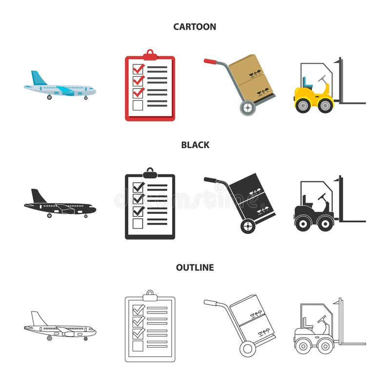 Cargo plane, cart for transportation, boxes, forklift, documents. Logistic, set collection icons in cartoon, black, outline. Style vector symbol stock stock illustration