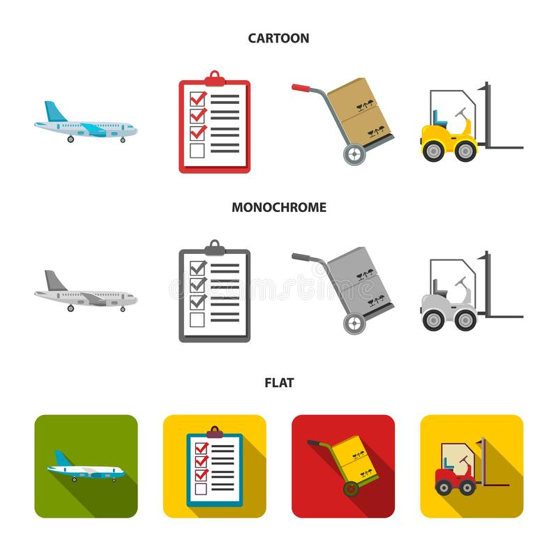 Cargo plane, cart for transportation, boxes, forklift, documents.Logistic,set collection icons in cartoon,flat. Monochrome style vector symbol stock royalty free illustration