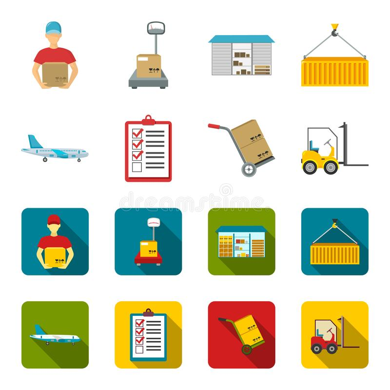 Cargo plane, cart for transportation, boxes, forklift, documents.Logistic,set collection icons in cartoon,flat style. Vector symbol stock illustration royalty free illustration