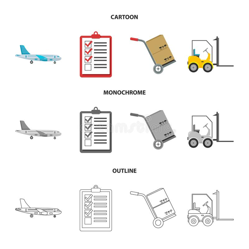 Cargo plane, cart for transportation, boxes, forklift, documents.Logistic,set collection icons in cartoon,outline. Monochrome style vector symbol stock royalty free illustration