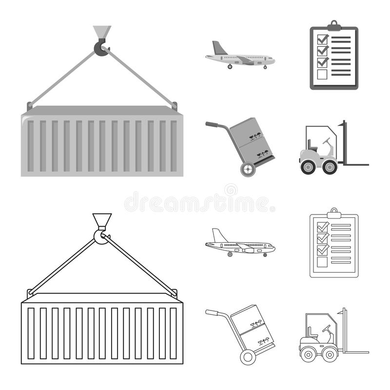 Cargo plane, cart for transportation, boxes, forklift, documents.Logistic,set collection icons in outline,monochrome. Style vector symbol stock illustration royalty free illustration