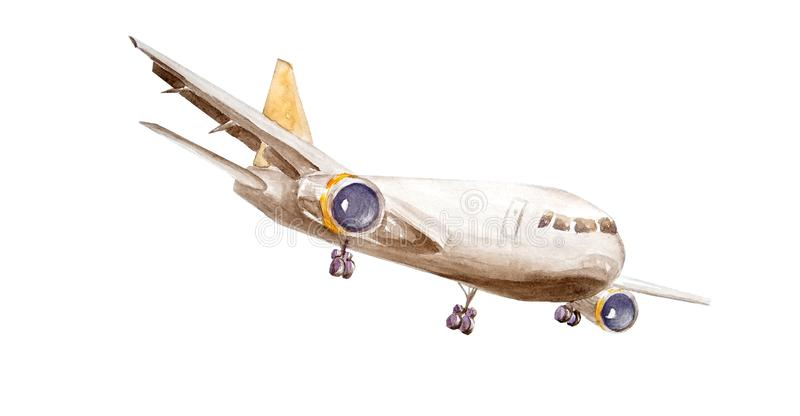 A cargo plane, one turbine on wings and a yellow tail, takes off into the air. Painted in watercolor isolated on a white royalty free illustration