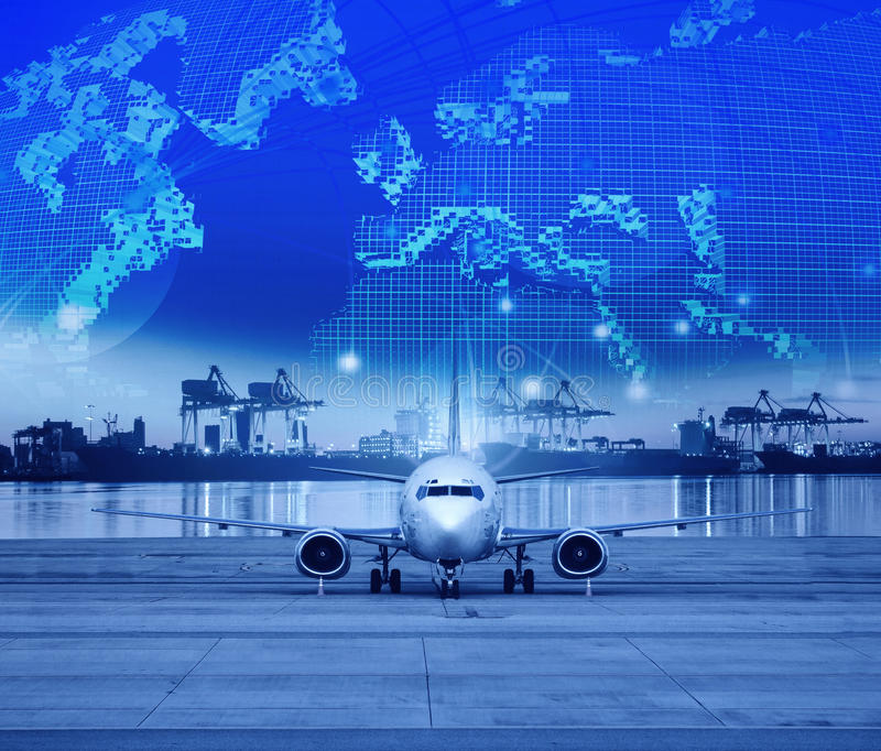 Cargo plane parking in airport runways and shipping port behind stock photography