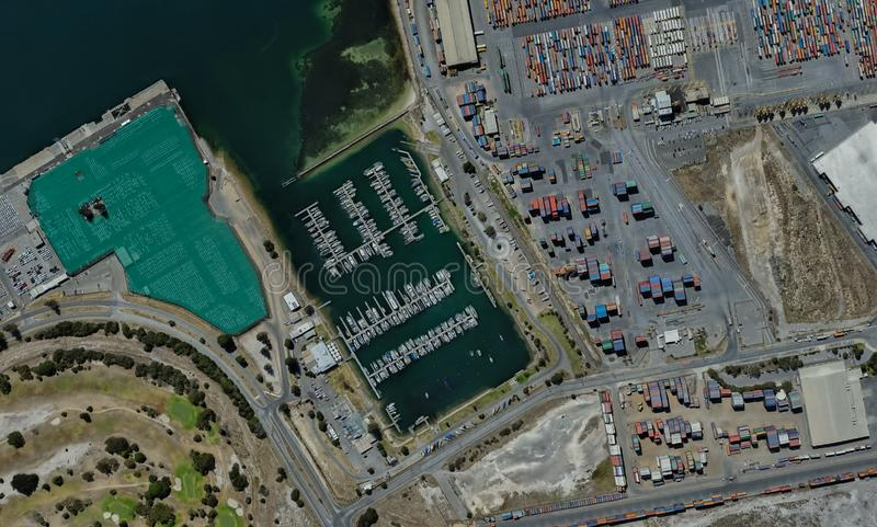 Cargo port of Adelaide, Australia on the Gulf of St. Vincent. From a height of flight royalty free stock image