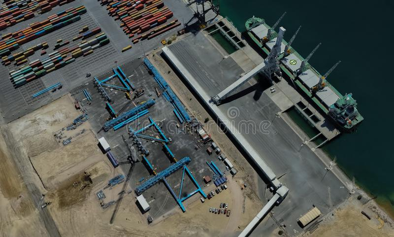 Cargo port of Adelaide, Australia on the Gulf of St. Vincent. From a height of flight royalty free stock photography