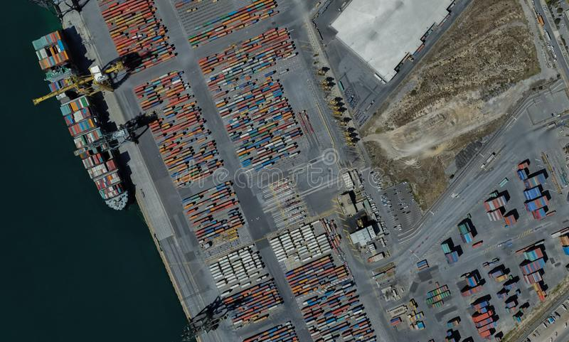 Cargo port of Adelaide, Australia on the Gulf of St. Vincent. From a height of flight stock photography
