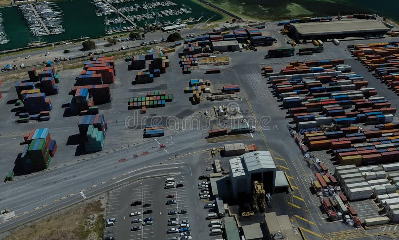 Cargo port of Adelaide, Australia on the Gulf of St. Vincent. From a height of flight stock images