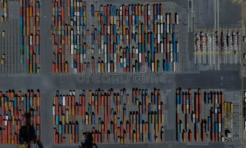 Cargo port of Adelaide, Australia on the Gulf of St. Vincent. From a height of flight royalty free stock photo