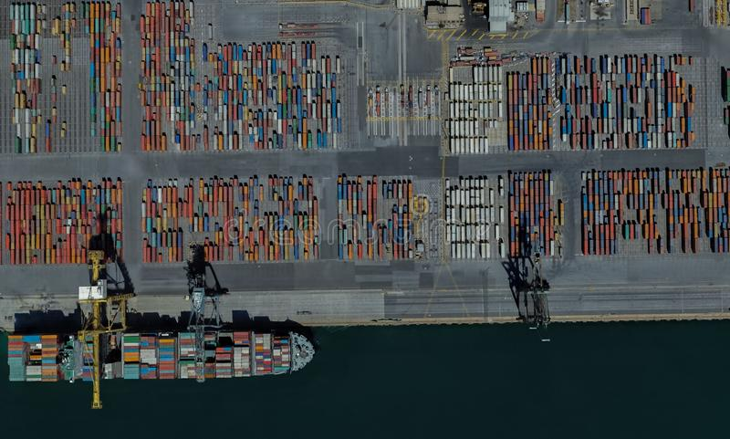 Cargo port of Adelaide, Australia on the Gulf of St. Vincent. From a height of flight stock photos