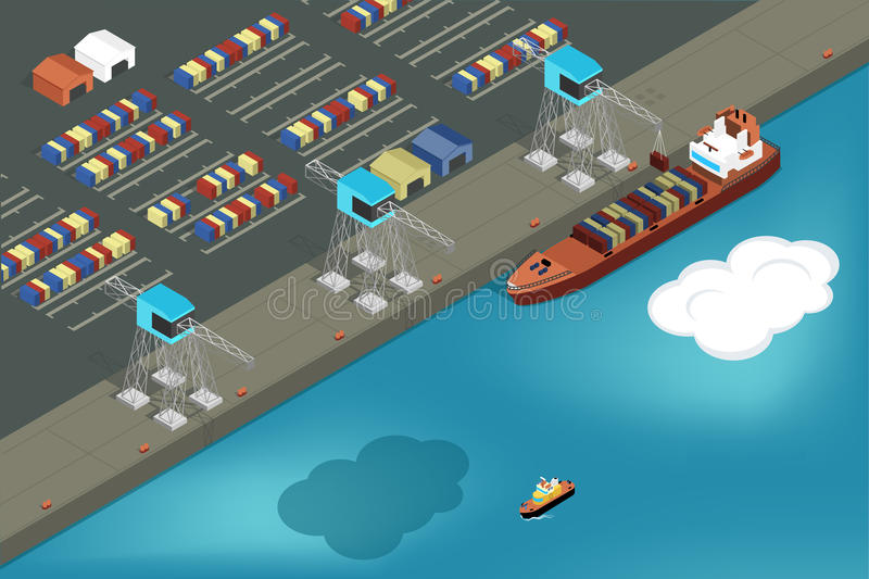 Cargo port. Commercial ship loading containers vector illustration